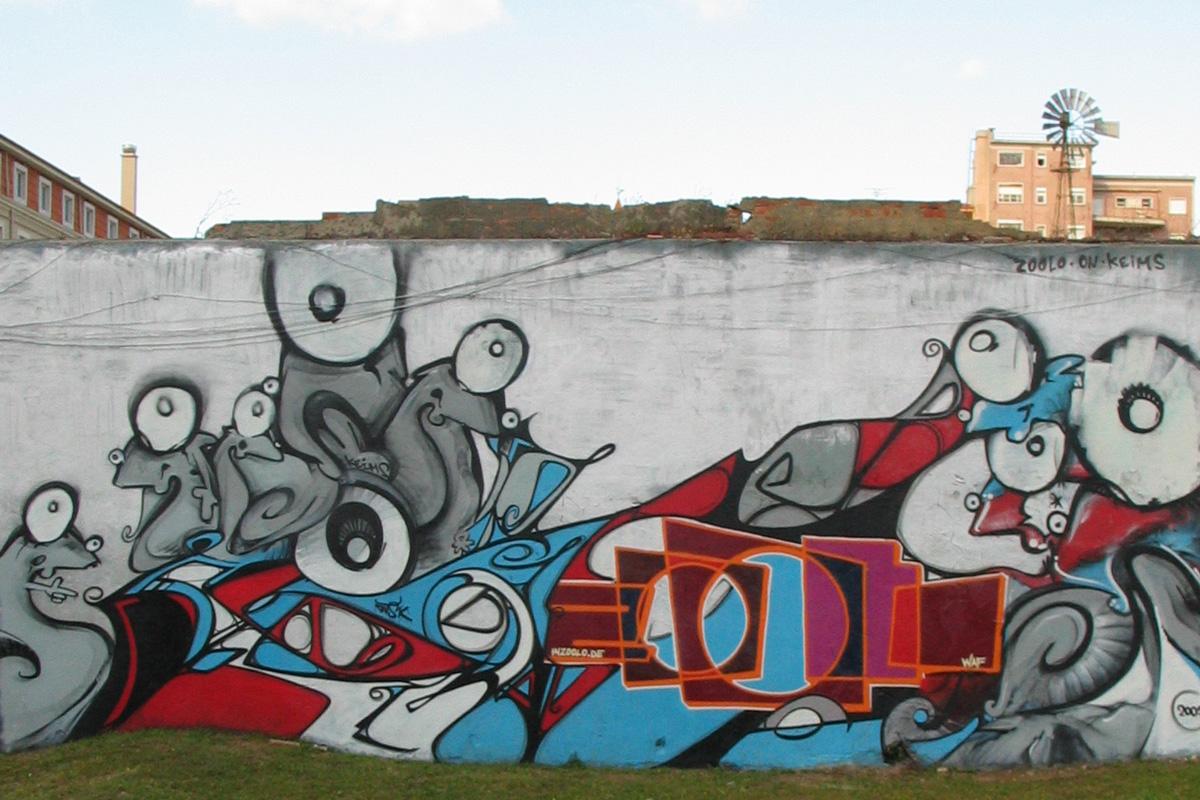 Graffiti von zoolo, zoolo, Graffitigestaltung, Graffitiauftrag